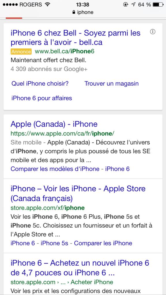 """Exemple d'affichage de la nouvelle ligne """"Site mobile)"""